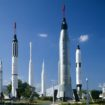 The Rocket Garden im Kennedy Space Center in Cape Canaveral, Florida, USA